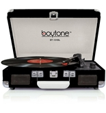Boytone BT-101 Turntable Portable Suitcase Style Belt-Drive 3-speed with FM Radio Bu