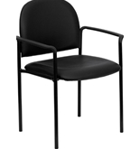 Flash Furniture BT-516-1-VINYL-GG Black Vinyl Comfortable Stackable Steel Sid.