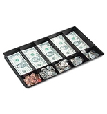 Buddy Products Coin and Bill Tray, 10 Compartments, Plastic, 9.25 x 1.625 x 15.125 Inches, Black