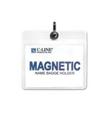 C-Line Products, Inc. : Name Badge Holder Kits, Magnetic, Top Load, 3-x4-, 20/BX - Sold as 2 Packs