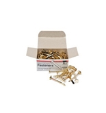 Charles Leonard Inc., Fasteners, Round Head, Brass Plated 2 Inches Shank, 12 mm Head, 100/Box (7R-BP)
