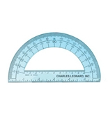 Charles Leonard Inc. Protractor, 6 Inch Open Center, Clear Plastic,(77106)