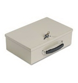 COU-3 - Heavy-Duty Steel Fire-Retardant Security Cash Box, Key Lock, Sand