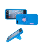 Camera Model Soft Silicone Skin With Stand Case Cover for iPhone 5 -Blue