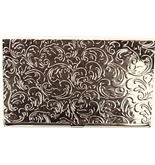 Deluxe Chrome Steel Metal Business Card Holder in Silver Finish