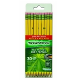 Dixon Ticonderoga Pre-Sharpened Yellow No. 2 Pencils with Microban, 30 Pencils with Erasers (13830)