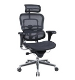 Eurotech Ergohuman Mesh Chair - 18.1A-22.9- Seat Height - High-Back Chair With Headrest - Gray