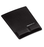 Fellowes Memory Foam Wrist Support w/Attached Mouse Pad, Black - FEL9181201
