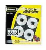 Fellowes Two-Sided CD/DVD Refill Sheets for Three-Ring Binders, Clear, 25 per Pack - Sold as 2 Pack