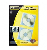 Fellowes Vinyl CD/DVD Refill Sheets for Three-Ring Binders, Clear, 10 per Pack - Sold as 2 Packs