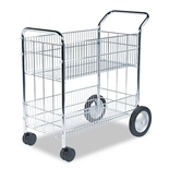 Fellowes Wire Mail Cart, 150-Folder Capacity, 18 x 38-1/2 x 39-1/4, Chrome Plated - Sold as 2 Pack