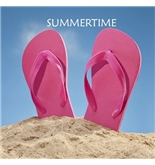Florene Décor II - Pink Summer Flip Flops On Beach - Mouse Pads