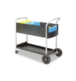 Safeco Scoot Mail Cart, 1-Shelf, 300s, 22-1/2 x 39-1/2 x 40-3/4, Black/Silver