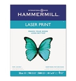 Laser Print Office Paper, 98 Brightness, 32, 8-1/2 x 11, White, 500 Sheet