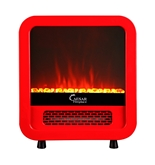 Caesar Hardware Electric Fireplace Portable Mini Indoor Compact Freestanding Room Heater, Red