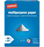 Staples Multipurpose Copy Fax Laser Inkjet Printer Paper, 8 1/2 Inch x 11 Inch