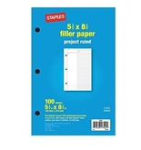 Project Ruled Filler Paper, 5-1/2- x 8-1/2-, Pack of 100 Sheets