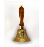 Large Solid Brass School Bell w/ Wood Handle ~ School Bell