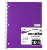 Mead Spiral Notebook, College Ruled, 1 Subject, 8.5 x 11, 100 Sheets, Assorted Colors (06622)