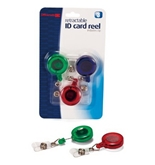 Officemate ID Card Reels, Pack of 3, Assorted Colors (37002)