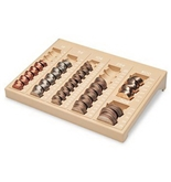 One-Piece Plastic Countex II Coin Tray w/6 Compartments, Sand