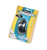 Optical Mouse, Antimicrobial, Five-Button/Scroll, Programmable, Black/Silver