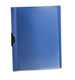 Oxford 52002 Polypropylene No-Punch Report Cover, Letter, Clip Holds 30 Pages, Clear/Blue