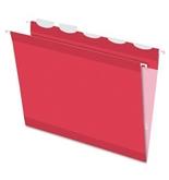 Pendaflex 42623 Ready Tab Colored Reinforced Hanging Letter Folders, 1/5 Cut, Red, 25/box