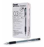 Pentel Arts Hybrid Technica 0.3 mm Pen, Ultra Fine Point, Black Ink, Box of 12 (KN103-A)