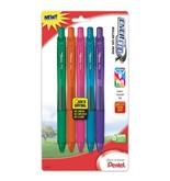 Pentel EnerGel-X Colors Retractable Liquid Gel Pen, 0.7mm, Metal Tip, Assorted Ink Colors, Pack of 5 (BL107CRBP5M)