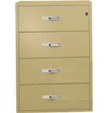 "Phoenix 4 drawer lateral fire file, 38"" wide, can file legal and letter size, key lock"