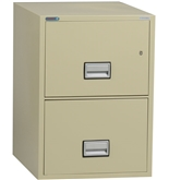 "Phoenix 2 drawer legal size vertical fire file, 25"" deep, can file legal and letter size, key lock"