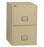 "Phoenix 2 drawer legal size vertical fire file, 31"" deep, can file legal and letter size, key lock"