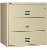 "Phoenix 3 drawer lateral fire file, 38"" wide, can file legal and letter size, key lock"