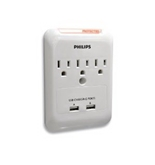 Philips SPP3038A/17 Home Electronics 3 Outlet Surge Protector for Apple/iPhone and iPad
