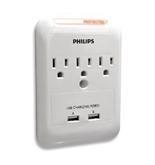 Philips SPP3038B/17 Home Electronics 3 Outlet Surge Protector for Android and Smartphone Devices