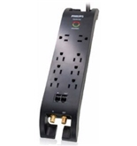 Philips SPP5085D/17 Home Theatre 8 Outlet Surge Protector with Built - In Cord Management