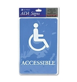 Quartet ADA Accessible Sign, 6 x 9 Inches, Blue (01409)