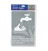 Quartet ADA Approved Hygiene Sign, Employees Must Wash Hands Symbol with Tactile Graphics, Molded Plastic, 6 x 9 Inches, Gray (01414)