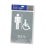 Quartet ADA Approved Men-s Restroom Sign, Wheelchair Accessible Symbol with Tactile Graphics, Molded Plastic, 6 x 9 Inches, Gray (01416)