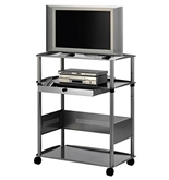 Quartet Euro 43 Inch Wide Screen Monitor Cart, 36 x 45 x 23 Inches, Brushed Silver (PWB1)