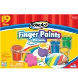 RoseArt Washable Finger Paints Set, Includes Paint, Paper, Sponges and Wood Spatula, Packaging May Vary (11533VA-4)