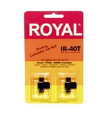 Royal IR40T Ink Pack for Royal TC-100 Time Clock + Many Calculator Models (2 Pack, Black/Red ink)