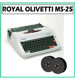 Royal MS-25 Olivetti Plus Manual Typewriter with Olvetti Autotron Black Nylon Ribbon 6-Pack