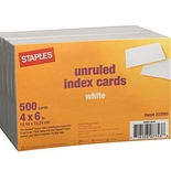 Staples 4 x 6 Unruled White Index Cards, 500/Pack