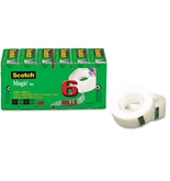 Scotch Magic Tape - 3/4- x 1000- - 1- Core, 6-ROLL - 810K6