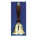 "Solid Brass Hand Bell, 6-1/2"" High, Natural Wood Handle; no. AU-48101"