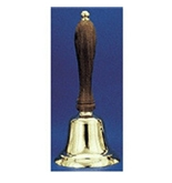 Solid Brass Hand Bell, 8-1/2- High, Natural Wood Handle; no. AU-48102
