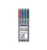 Staedtler's Lumo Color Non-Permanent Markers, Fine Point, 4/Count, Assorted (STD316WP4A6)