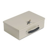SteelMaster - Heavy-Duty Steel Fire-Retardant Security Cash Box, Key Lock, Sand - Sold As 1 Each